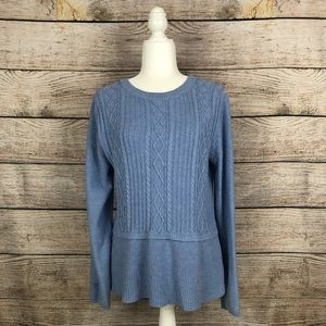 Talbots Blue Cable Knit Peplum Crew Neck Sweater
